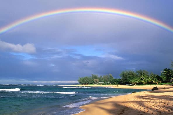 Brilliant beach rainbow